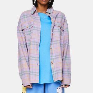 Bailey Rose Flannel Jacket plaid purple oversized